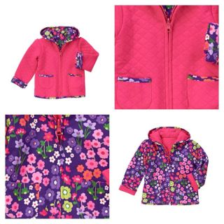 2T 3T Gymboree Stylish Corgi Floral Quilted Reversible Hooded Coat Jacket