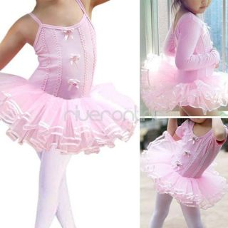 Girls Kids Flower Ballet Dance Dress Leotard Tutu Skirt Skate Party Costume 2 6Y