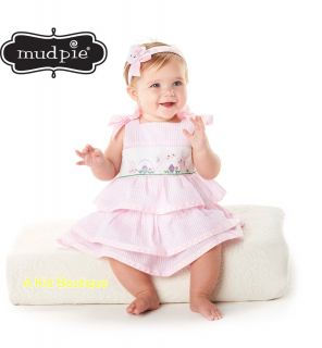 Mud Pie Baby Infant Girls Easter Seersucker Bunny Smocked Tiered Dress 0M 3T