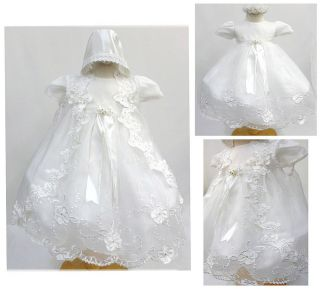 Baby Girl White Gown Christening Baptism Dress Size 0 6 6 12 12 18 18 24 30M