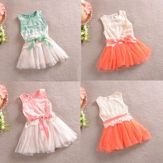 Baby Kids Toddlers Girls Princess Cotton Bowknot Floral Lace Tutu Dress 2 6Y