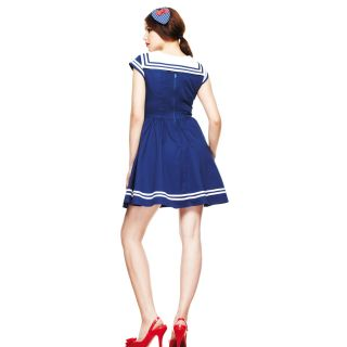 Hell Bunny Sakura Nautical Mini Dress Sailor Rockabilly Costume Pin Up