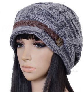 Mens Ladies Unisex Winter Braided Rageared Baggy Beanie Knit Crochet Ski Hat Cap