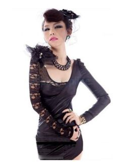 Black Lace Punk PU Design Sexy Women's Long Sleeves Mini Party Dress Slim Fit