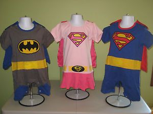 Batman Superwoman Supergirl Superman Super Hero Rompers with Cape 6 Months 3T