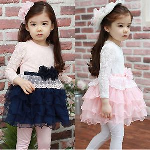 Girls Kids Clothes Toddler Lace Flower Tulle Princess Party Tutu Skirt Dresses