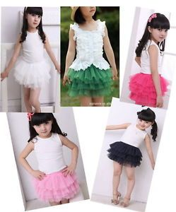 Kids Girls Baby Tulle Pompon Princess Tutu Dress Mini Skirt 2 7Y Summer Clothing