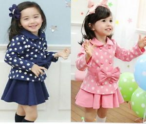 Girl Toddler Dress Coat Top Skirt 1 6Y 2pcs Kids Clothes Set Outfit Costum E