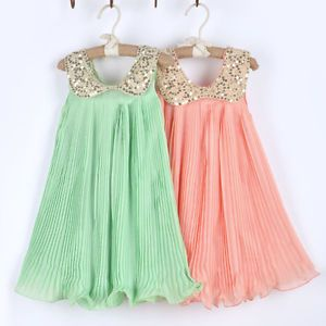1pc Girl Kids Baby Sequin Pleated Skirt Chiffon Party Dress Clothes Outfit 2 7Y