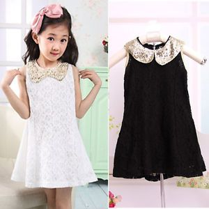Chic Baby Kids Girls Lace Pageant Party Dresses Outfit Top Sequin Collar Clothes