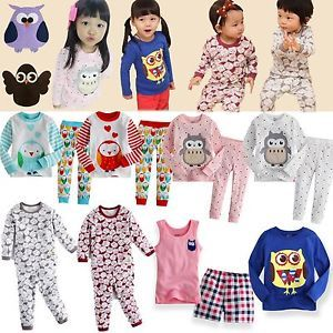 "Baby Toddler Kids Girl Boy Clothes Sleepwear Pajama Top Shirt Outfits ""Owl"""