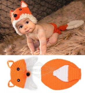 Fox Hat Pant Newborn Baby Boy Girl Infant Knit Crochet Clothes Photo Prop Outfit