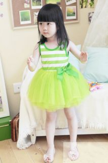 Green Toddler Baby Girls Sundress Kids Tutu Dress Skirt Clothes 3 4Year NL23