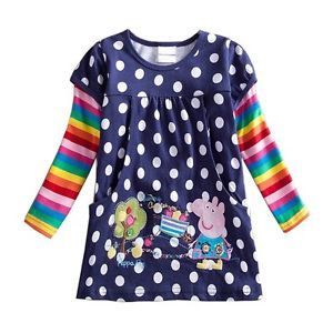Peppa Pig Girls Baby Cotton Rainbow Long Sleeve Top Dress T Shirt 18 24M Clothes