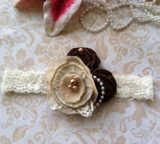Vintage Fabric Flower Headband for Girl Baby Todd Lace Band w Pearls Brown Ivory