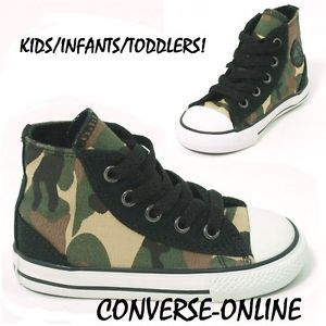 Babies Toddler Kids Boy Converse All Star Camo Hi Top Trainers Boot 23 Size UK 7