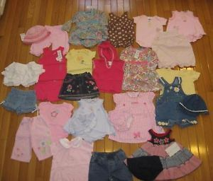 Huge 26pc Baby Girls Clothes Lot Dress Shorts Shirts Hats 3 6 9mos Many New