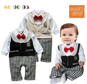 Cute Baby Boy Party Wedding Tuxedo Playsuit Outfit Romper Size 00 0 1