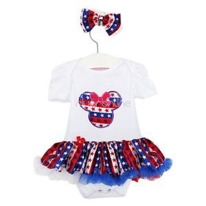2pcs Minnie Baby Girls Infants Headband Romper Dress Clothes Outfit Flag Sz 3 6M