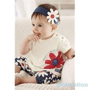 Girl Kids Flower Headband Top Pants Shorts Outfit 3pcs Baby Clothes Set 0 3years