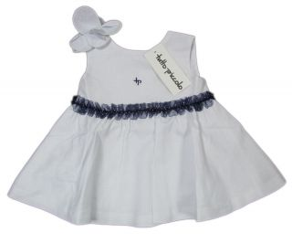"TUTTO Piccolo ""Nautical"" Dress Polka Dots Chiffon Linen Baby White Blue"
