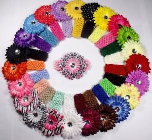 40 Lots Hair Accessory Baby Girl 20 Crochet Headbands 20 Daisy Flower Clips