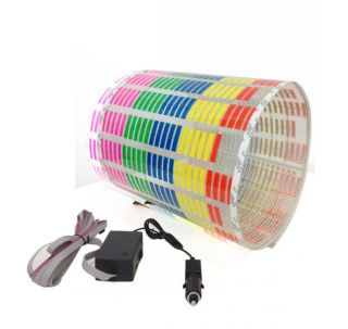 90 x 25cm Colorful Sound Activated Equalizer Car Sticker LED Flash Light 12V