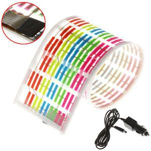 45x11cm Car Sticker Sound Music Activated Colorful LED Flash Light Equalizer