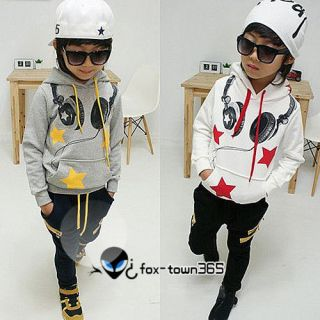 Autumn Boys Baby Child Baby Kids Star Headphone Hoodie Trousers Sports Sets 2 7Y