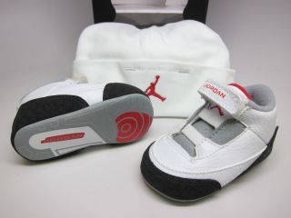Newborn Baby Jordan 3 Retro Crib GP 574416 120 White Fire Red Silver Black