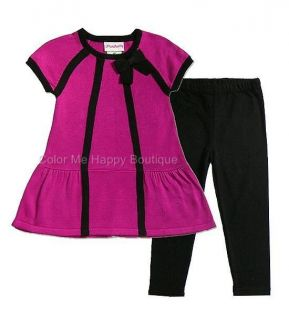 New Girls Boutique Flapdoodles Sz 4T Pink Black Sweater Outfit Dress Clothes $47