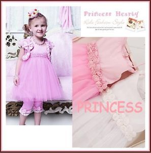 Top Quality Boutique Girl Princess Rosette Trim Waist Tulle Pageant Party Dress