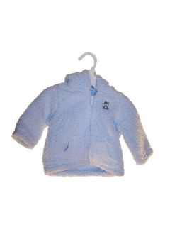 Carters Baby Boy Fleece Jacket w Zipper Bear Blue Brown Sz NB 9mo New with Tag