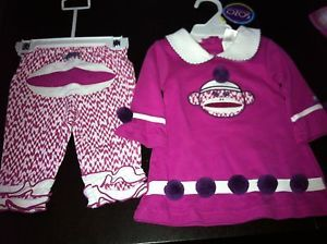 Sozo USA 0 3 Month Girl Pink Sock Monkey Dress Leggings Baby Clothes