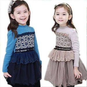 Girls Kids Clothing Toddler Children Lace Ruffle Party Princess Tulle Fall Dress