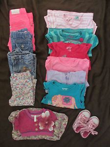 Toddler Girls Lot of Clothes Shirts Jeans Pair of Shoes and A Dress 18M 4T