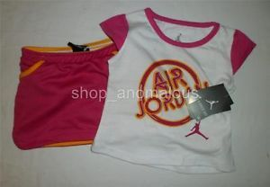 Nike Air Jordan Baby Girls Shirt Shorts Skirt Outfit Clothes Set Sz 24M 2 2T