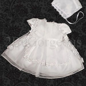 Infant Baby Girl Baptism Christening Dress Gown Bonnet Flower Occasion 0 12M