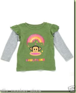 Paul Frank Julius Rainbow Paint Baby Girls 2 in 1 Tee Shirt Top Long Sleeves