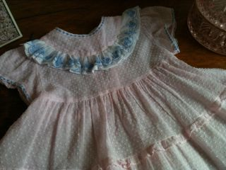 Vintage Baby Girls' Pink Blue Dotted Swiss Party Easter Dress 18M 24M 2T Mint