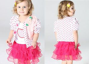3pcs Baby Girls Kids Coat Top Skirt T Shirt Dress Tutu Outfit Sets Suits Clothes