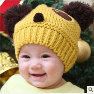 Cute Baby Kids Girls Boys Stretchy Warm Winter Panda Cap Hat Beanie Knit Crochet
