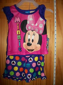 New Disney Baby Clothes 12M Minnie Mouse Pajama Shorts Set Infant Girl Sleepwear