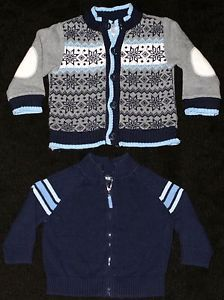 Lot of 2 Baby Toddler Boy Clothes 12 18 Month Long Sleeve Sweater Coat Jacket