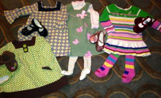 Baby Girl Clothes 18 Month Dresses Shoes Tights Lot EUC