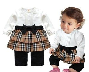 Infant Girl Baby Toddler Plaids Romper Bowknot Dress Jumpsuit Outfit Clothes Top