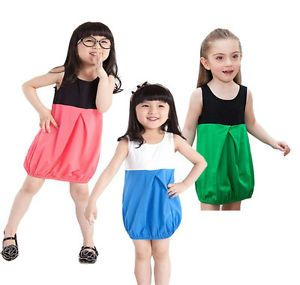 Girls Kids Toddler Party Lantern Dress 2 7Y Red Blue Green Summer Casual Clothes