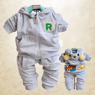 New Cute Bear Velvet Children's Clothes 2pcs Set Baby Boys Clothes Girls Outfits