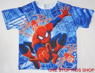 Spiderman Toddler Boys 2T 3T 4T 5T Short Sleeve Shirt Tee Top Marvel Super Hero