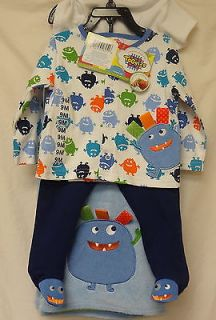 Taggies Boy's 4 Piece Set Onesie Top Pant Blanket 6 Months Blue White